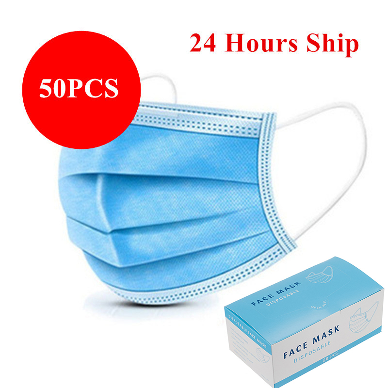 50pcs Face Mask Protective 3 Ply Anti Dust Flu Mask Mouth Filter Disposable Masks With Box
