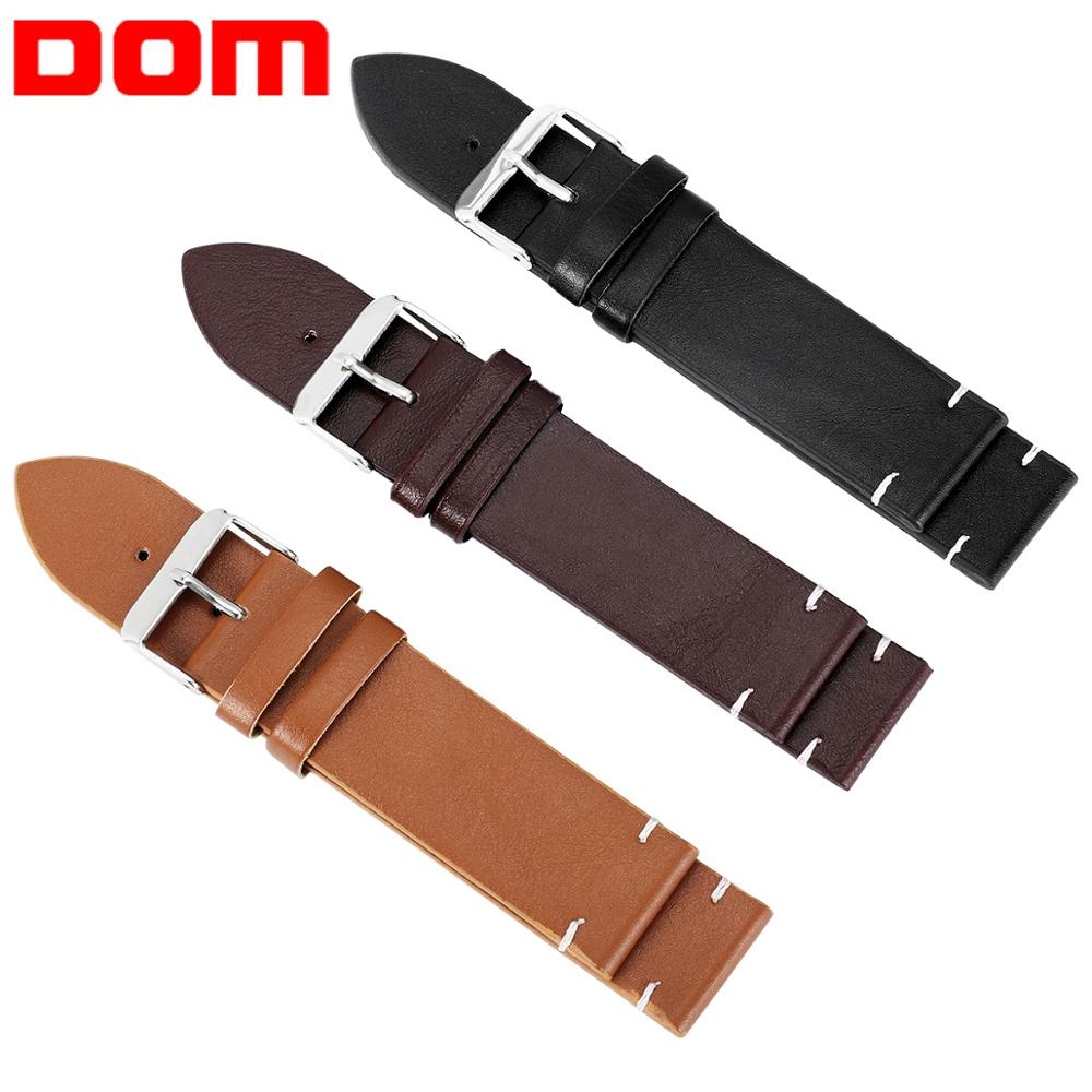 DOM Watch Accessories Faux Leather Straps Watchbands 18mm 20mm 22mm Watch Belt Men Brown Black Yellow Watch Band Bracelet