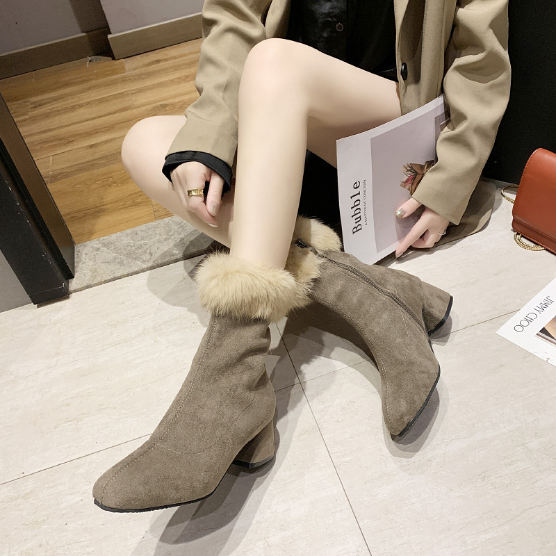 Winter Shoes Women Lace Up Bootee Woman 2019 High Heel Boots Luxury Designer Booties Ladies Plush Heels Fashion Rubber Chunky 37