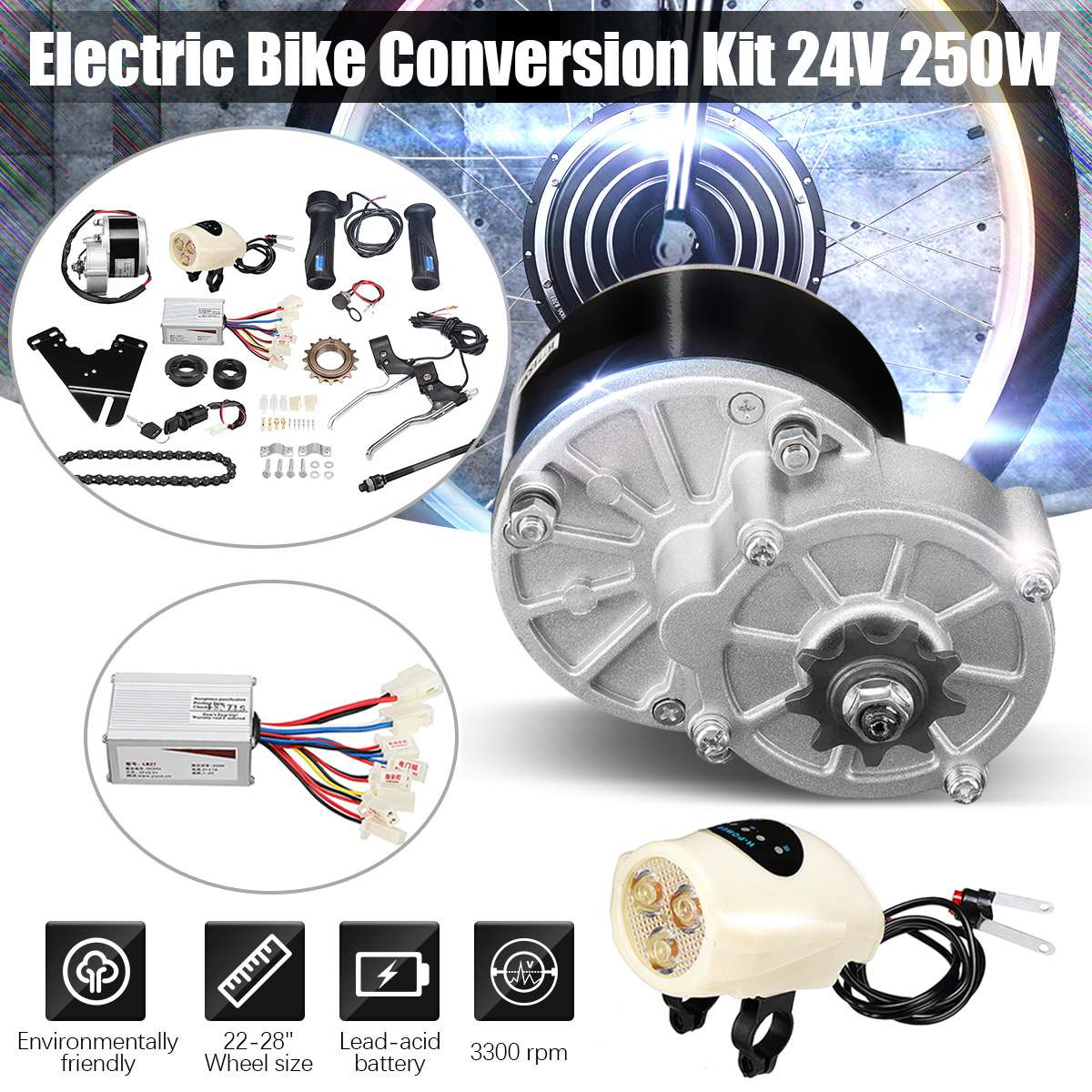 250W 24V DC Motor Regulator Motor Controller Bicycle Electric eBike Conversion Kit Accessories for 22-28 Electric Bicycle E-bike