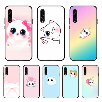 Hottest Cat Lovely Cartoons Phone case hull For Samsung Galaxy A 50 51 20 71 70 40 30 10 E 4G S black funda pretty shell 3D image