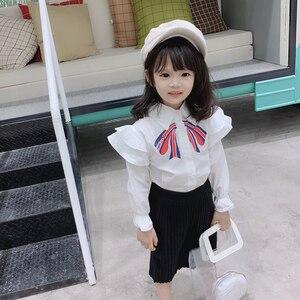 Primavera Otoño, blusa para niñas, camisa para bebés, tops para niños, ropa de marca con volante blanco, cuello de pétalo, lazo de puño, lazada de 2 a 7 años