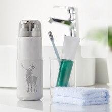 5pcs Travel Toothbrush Case Organizer Bathroom Tumblers Wash Cup Portable Holder Storage Box Accessories Set