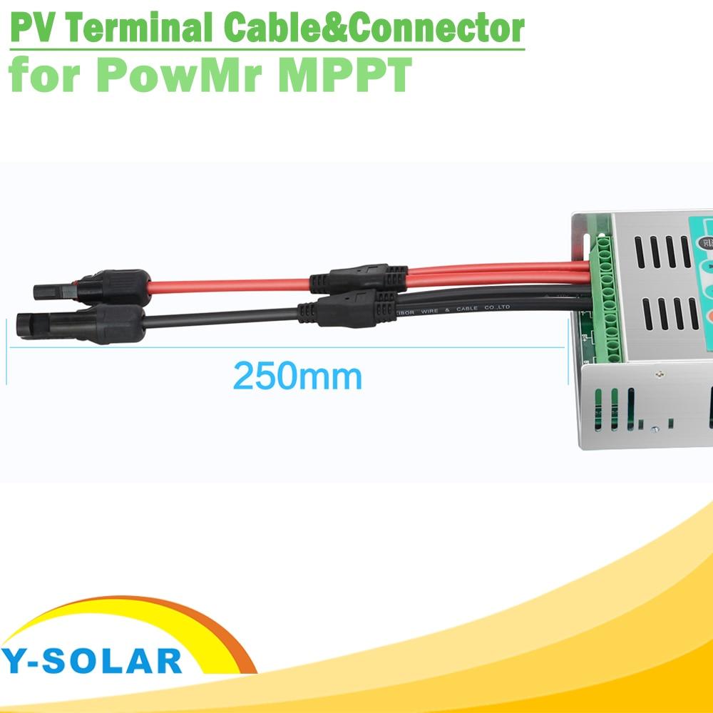 Een Paar Zonnepaneel Terminal Kabel Met Y Tak Vrouwelijke En Mannelijke 25 Cm Pv Connectors Voor Powmr Mppt Solar laadregelaar-in Connectoren van Licht & verlichting op title=