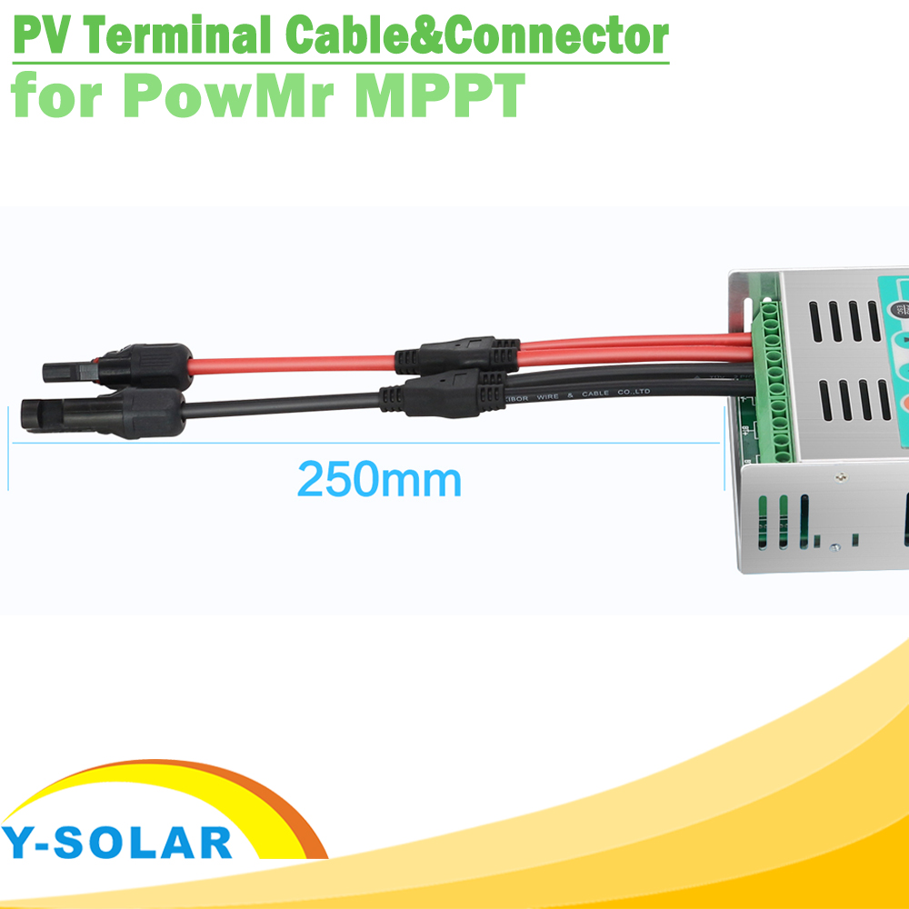 One Pair Solar Panel Terminal Cable With Y Branch Female And Male 25cm PV Connectors For PowMr MPPT Solar Charge Controller