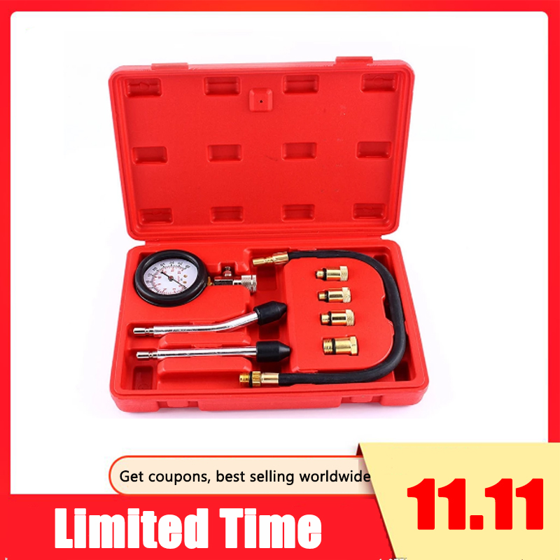 Automotive Motorcycles Petrol Engine Compression Test Gauge Tester Kit Tool Set