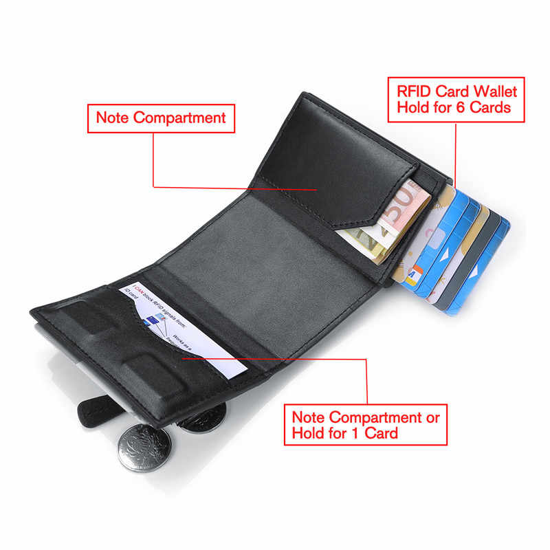 BISI GORO PU Leather Men Women Smart Wallet Automatic Fashion Coin Purse RFID Aluminum Box Anti-theft Card Holder Slim Card Case
