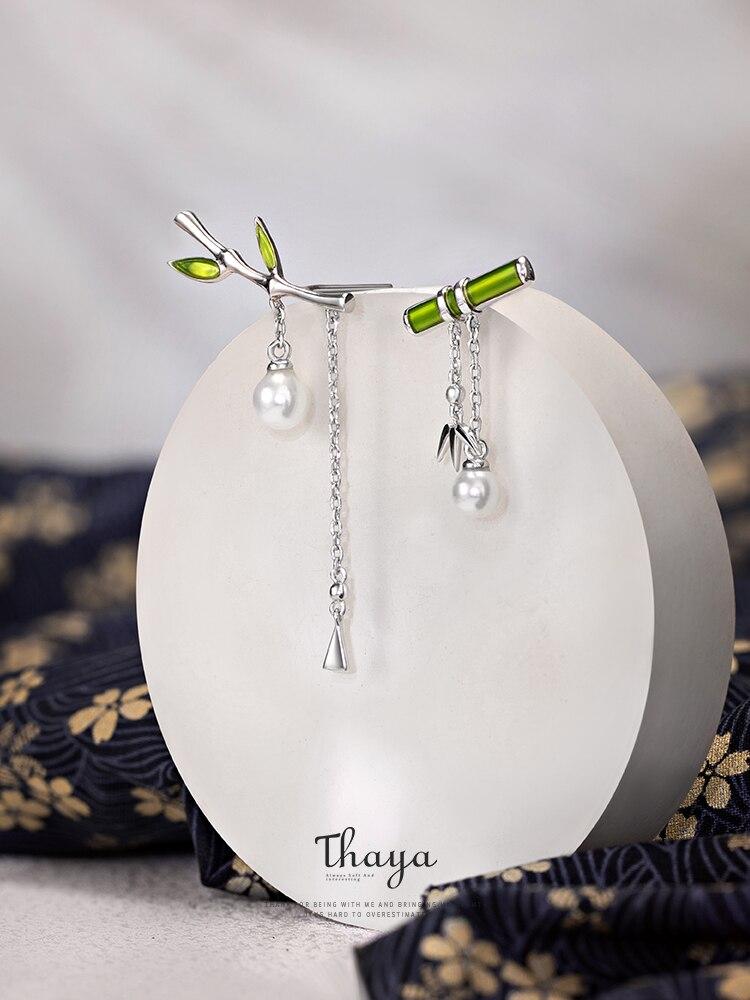 Thaya Earring Fine-Jewelry Pearl Dangle Sterling-Silver Retro-Style Green S925 Women