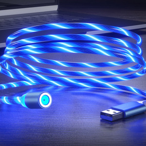 Magnetic Luminous Cable LED Glow Flowing Micro USB Type C Fast Charging Cord For Android Phone Bright Charger Cable For Huawei
