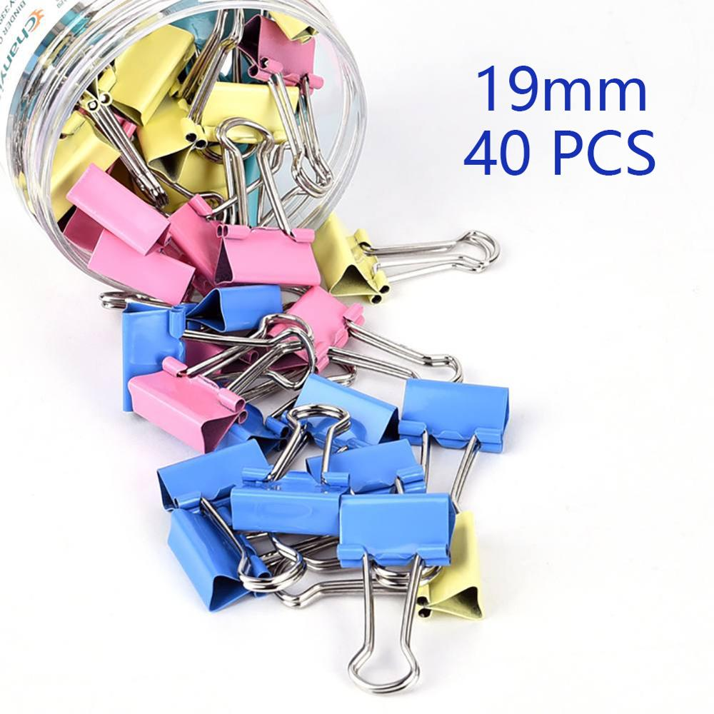 Paper Clip 40Pcs 19mm Foldback Binding Supplies Mini Colorful Binder Clips Metal Office Stationery Random Color Document Clips