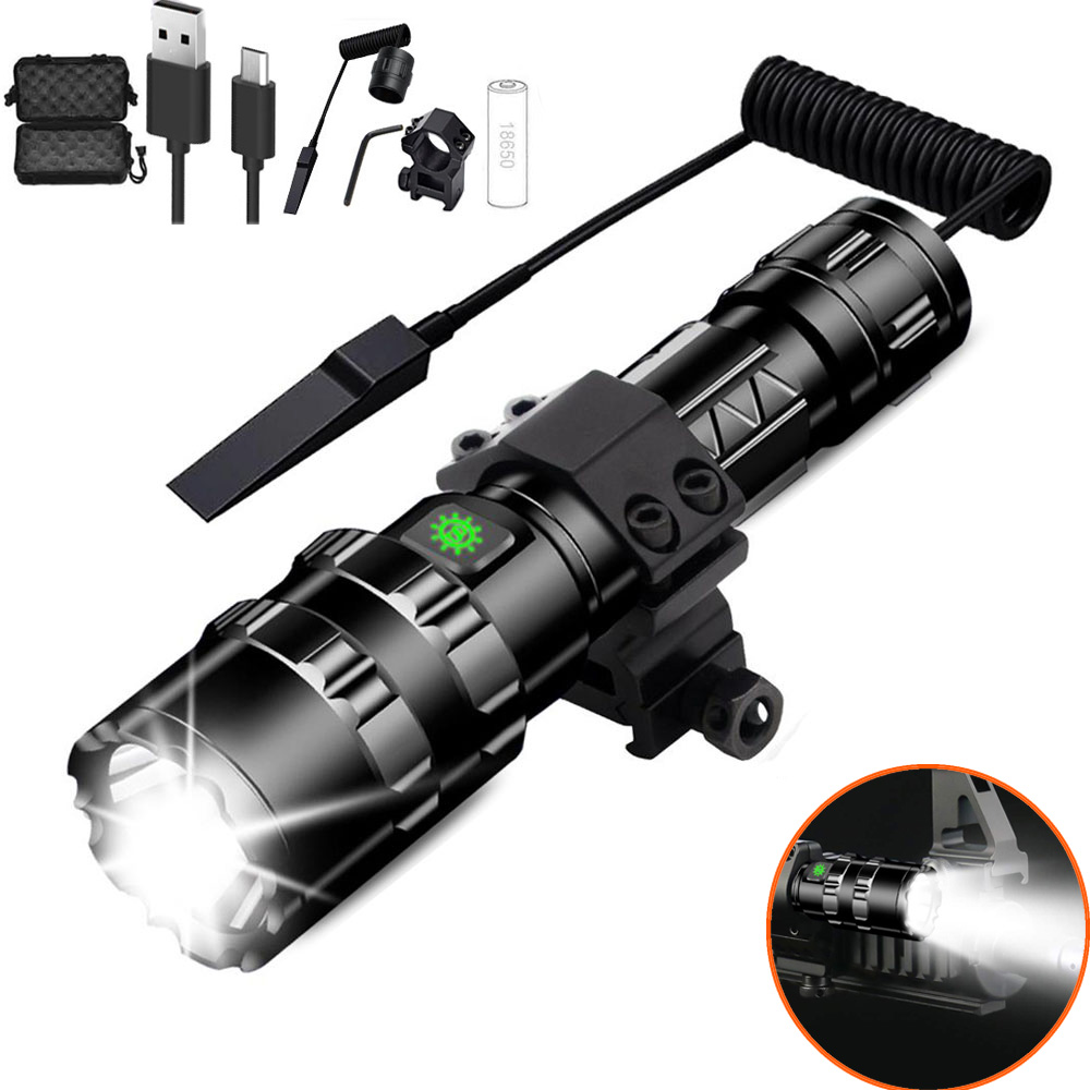 1600 Lumen Tactical Flashlight USB Rechargeable Torch with Mount Remote Switch for Hunting Shooting Outdoor Gun Accessories