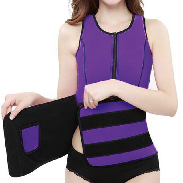 New Women Trainer Waist Belts Vest Gym Adjustable Slimming Sweat Belt Workout Zipper Body Shaper Sexy Workout Sports Wear Vest 4