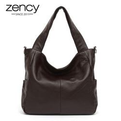 Zency moda feminina bolsa de ombro 100% couro genuíno elegante senhora mensageiro alta qualidade sacola compras hobos café preto
