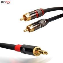 Hallo-fi Feinen stereo fieberhafte audio linie 3 kopf linie 3,5 drehen RCA doppel lotus linie 0,75 1. 2. 1,5 m 2 3 5 8 10 15M reinem kupfer