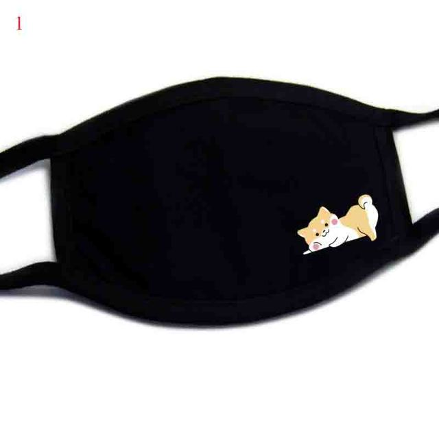 Windproof Mouth Repeatable Face Mask Cartoon Anti Reusable covers mouth Masks washable kawaii anime Dogs Black Mask reusable