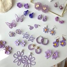 2020 mode Einfache Lila Blume Blütenblatt Ohrringe Trendy Frische Ohrring Elegante Ohrringe Für Frauen Hochzeit Partei Schmuck