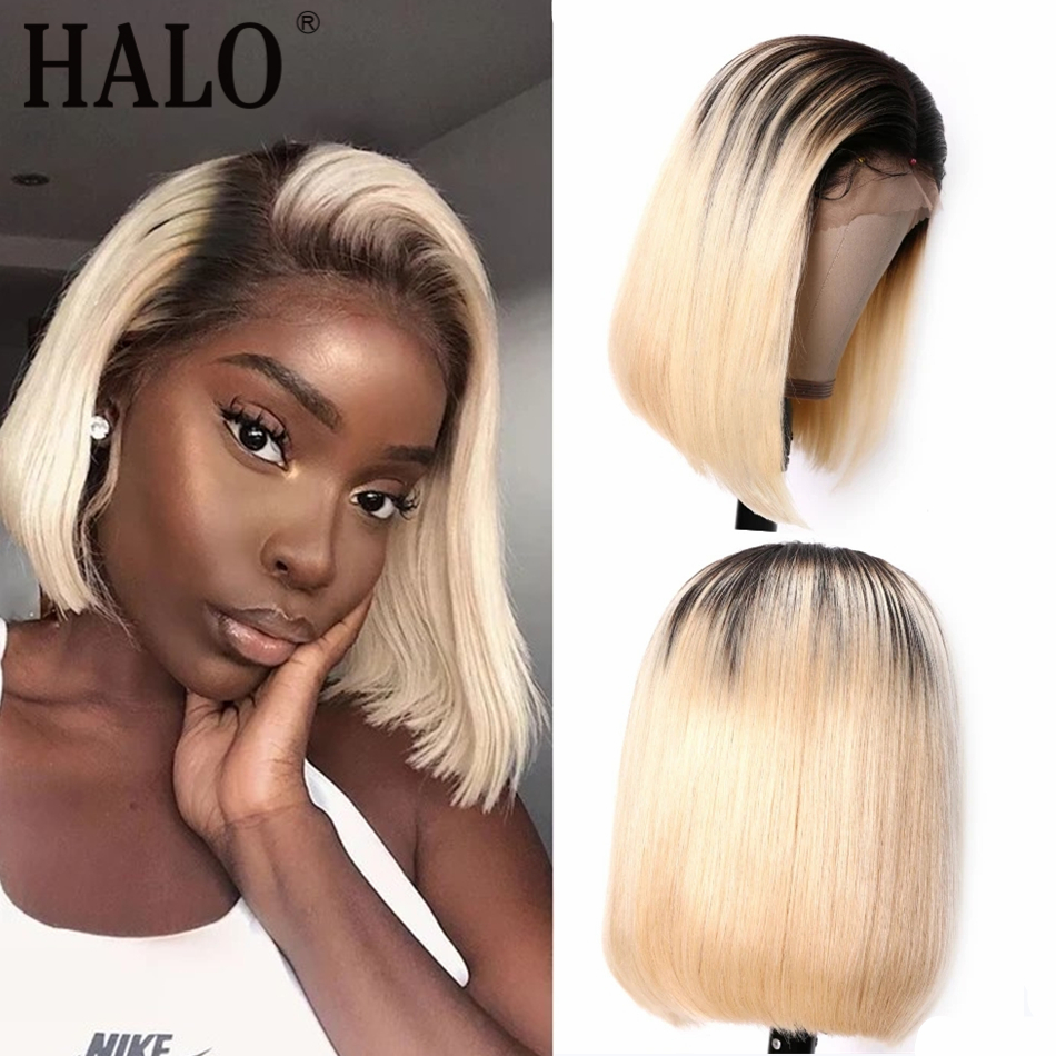 HALO T1B 613 Honey Blonde Short Bob Lace Frontal Human Hair Wig Natural Straight 13x4 Brazilian 100%Human Hair 150 Density Remy