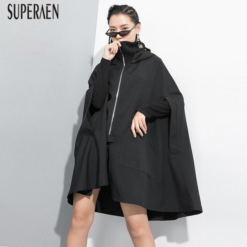 SuperAen 2019 Autumn New Turtleneck   Trench   Coat for Women Zipper Wild Cotton Ladies Windbreaker Fashion Women Clothing