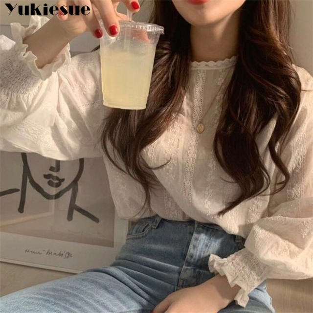 vintage plus size women tops white lace loose blouse shirt womens tops and blouses long sleeve women shirts elegant blusas 2