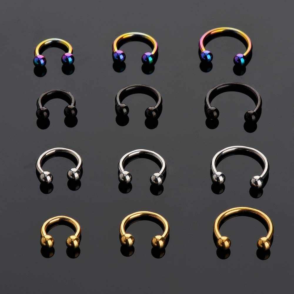 2 шт., трендовые хирургические стальные с-образные сегменты трагуса, поддельные перегородки, кольца для носа, кольца для губ, шпильки, спираль, пирсинг, Шарм для тела, ювелирные изделия в стиле панк