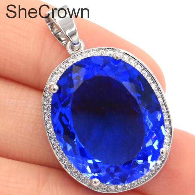 25x20mm Hot Sell Long Big Oval Rich Blue Violet Tanzanite CZ SheCrown Gift Silver Pendant
