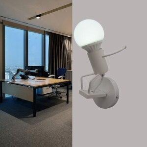 Image 5 - 철 Led 벽 램프 미국 크리 에이 티브 벽 조명 금속 만화 로봇 Sconce 벽 빛 침실 어린이 룸 Luminaire