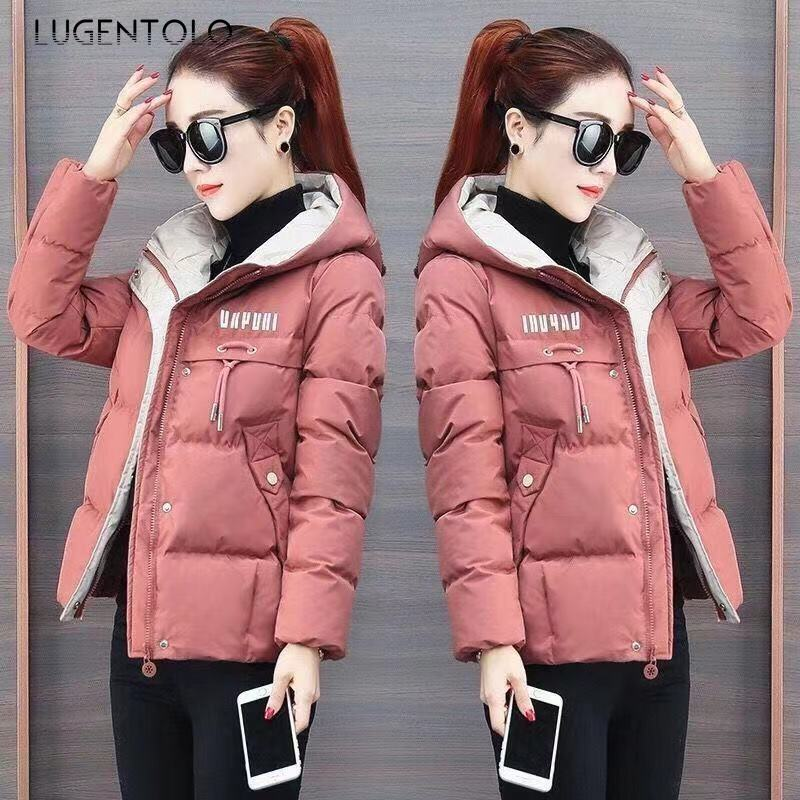 Lugentolo   Parka   Women Winter Coat Korean Slim Long Sleeve 5-Color Hooded Large Size Casual Short Women   Parkas   Casual Jacket