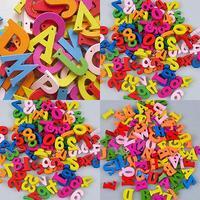 100 pçs letras coloridas números flatback de madeira bonito frigorífico ímãs diy casa decoração acessórios crianças aprendizagem precoce brinquedos|Letras e números decorativos|Casa e Jardim -