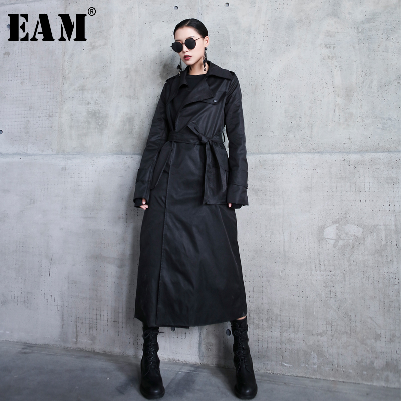 [EAM] Women Black Long Bandage Temperament Trench New Lapel Long Sleeve Loose Fit Windbreaker Fashion Autumn Winter 2019 1H591