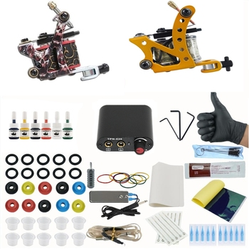 Professional Complete Tattoo Kit Coil Tattoo Machine Set Power Supply Needles Make Up Tool for Beginner complete tattoo kit professional beginner machine set tattoo gun pigment induction tattoo power supply set
