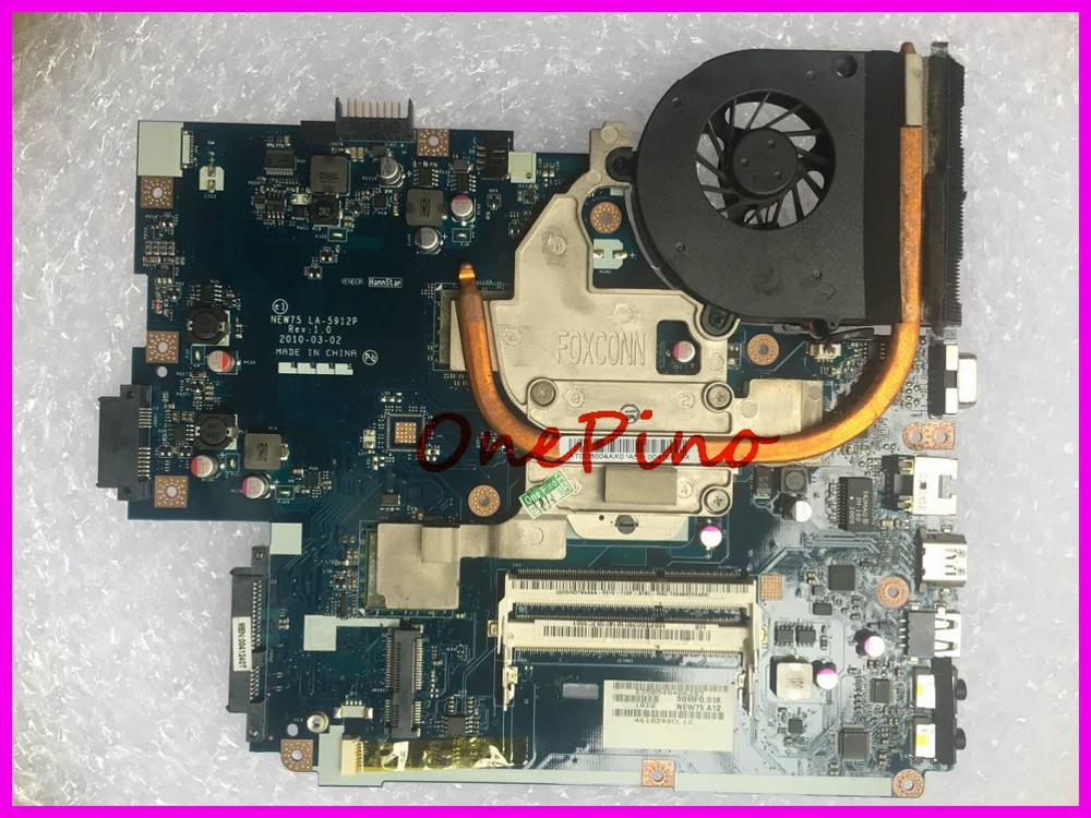 LA-5912P NEW75+heatsink+CPU Fit For Gateway NV53A Fit For 5551G 5551 Laptop Motherboard Instead LA-5911P 5552 5552G Motherboard