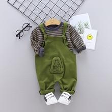 Newborn Baby Girl Clothes Casual Fashion Boy Solid Color Bib Pants+stripe Long Sleeve Tshirt Set