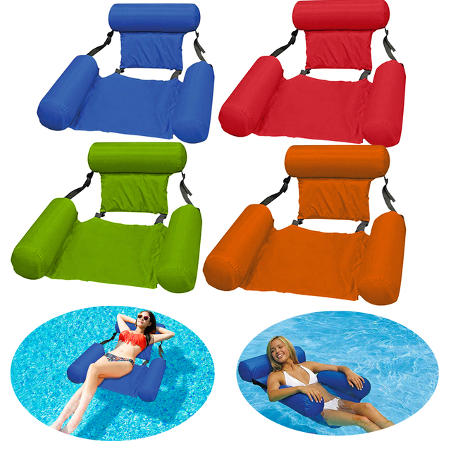 Summer Inflatable Foldable Floating Row Beach Swimming Pool Water Hammock Floating Beach Chair Lounger Mat Seatings 1