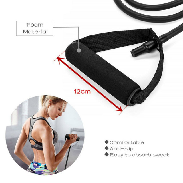 5 Levels Resistance Bands with Handles Yoga Pull Rope Elastic Fitness Exercise Tube Band for Home Workouts Strength Training 4