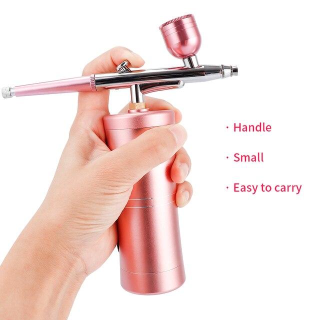 Kit de Mini compresor de aire rosa de 0,4mm superior, pistola de pulverización de pintura con cepillo de aire, aerógrafo para el diseño de Arte de uñas, juego de herramientas para pastel de tatuaje manualidad