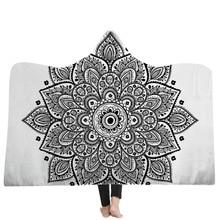 Soft Warm Bohemian Hooded Blanket for Adults Mandala Winter Bed Throw Wearable Fleece Microfiber