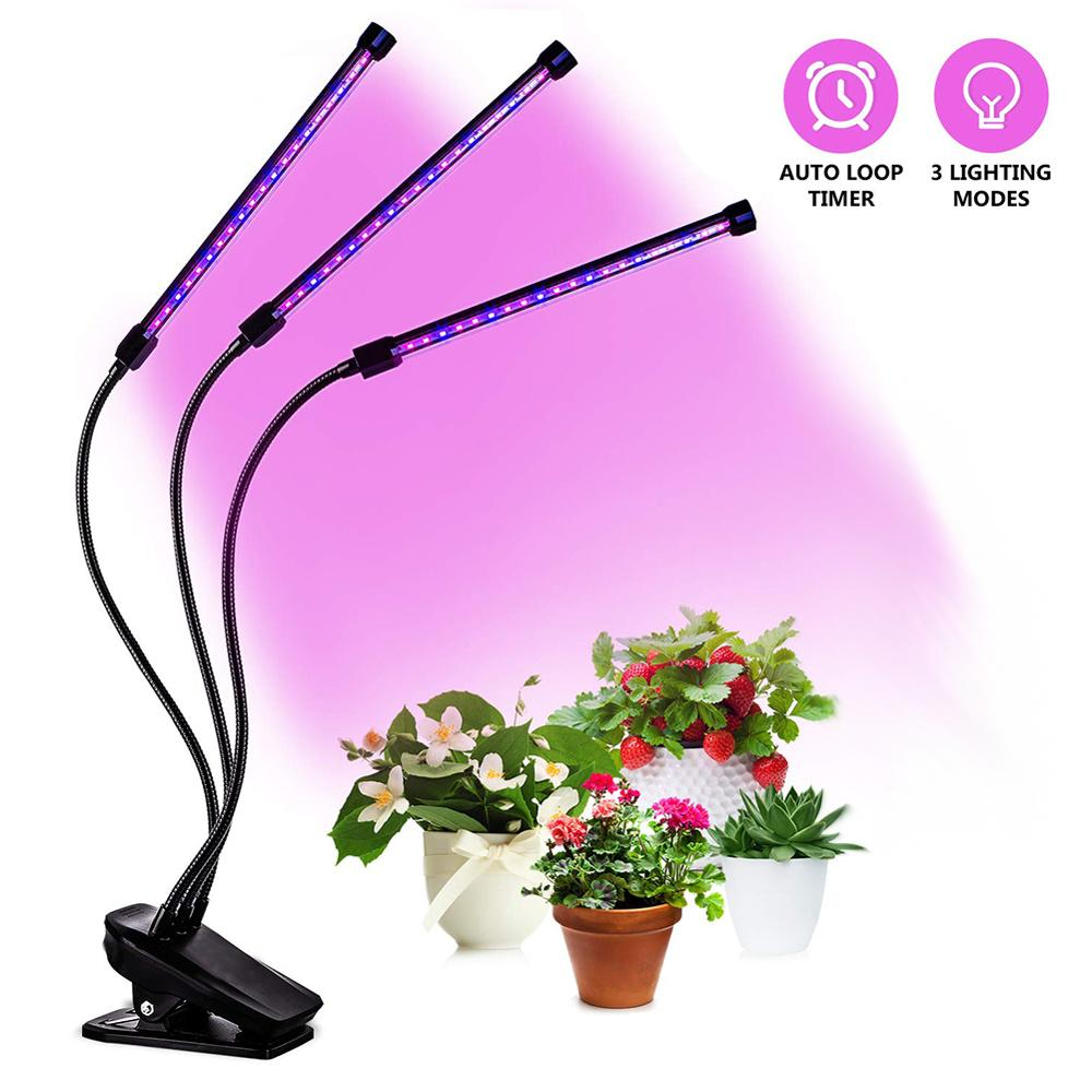 USB 5V Dimming Timing Plant Lamp Adjustable Angle Clip Single Head/Double Heads / 3 Heads Plant Growth Supplementary Light