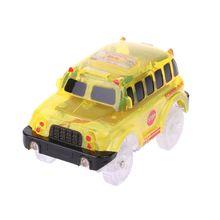 New 5 Lights Magic Tracks Car LED Car Toys Cars Race Track School Bus Police Car F42E