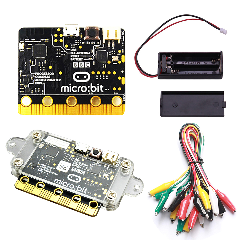 BBC Micro:bit Starter Kit with Micro bit Acrylic case +Micro bit battery case Alligator Clips Used for Teaching DIY Beginners