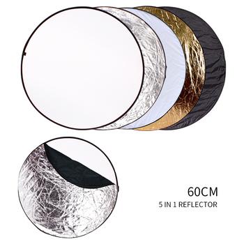 5 w 1 półprzezroczysty srebrny złoty biały i czarny 60cm reflektor do zdjęć składany Photo Studio Photo Reflecotor tanie i dobre opinie GSYXERGILES CN (pochodzenie) SH-FGB-5-60 ROUND 250g