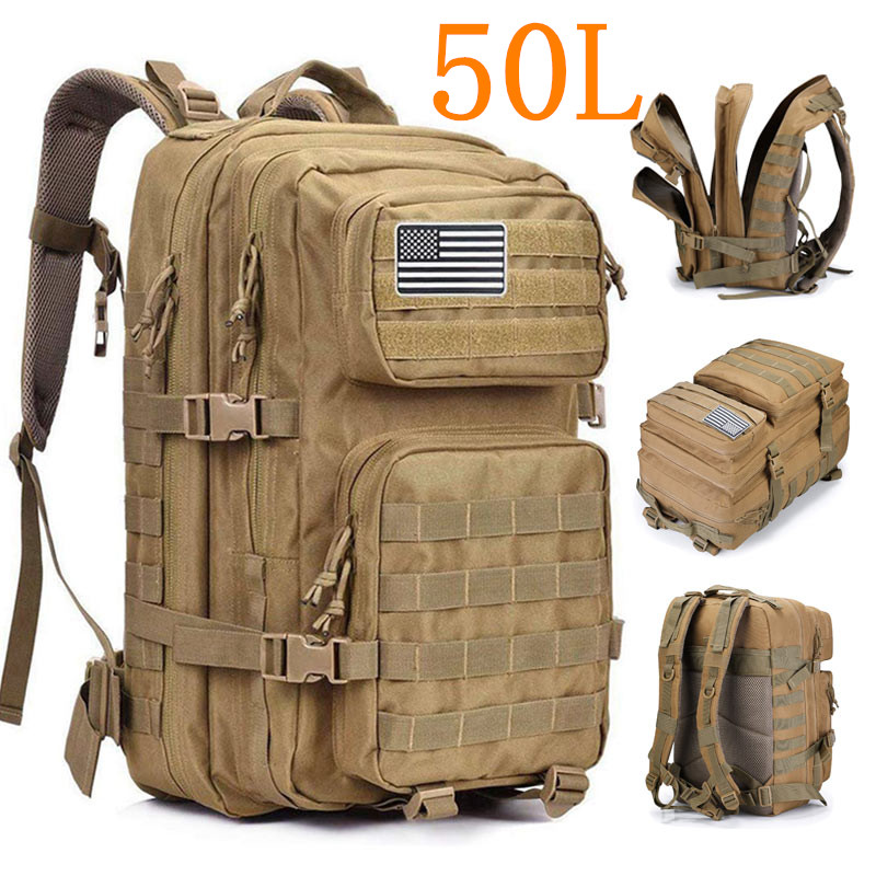 50L 3P Military Bag Army Tactical Outdoor Camping Men's Military Tactical Backpack Oxford for Cycling Hiking Sports Climbing Bag|Climbing Bags|   - title=