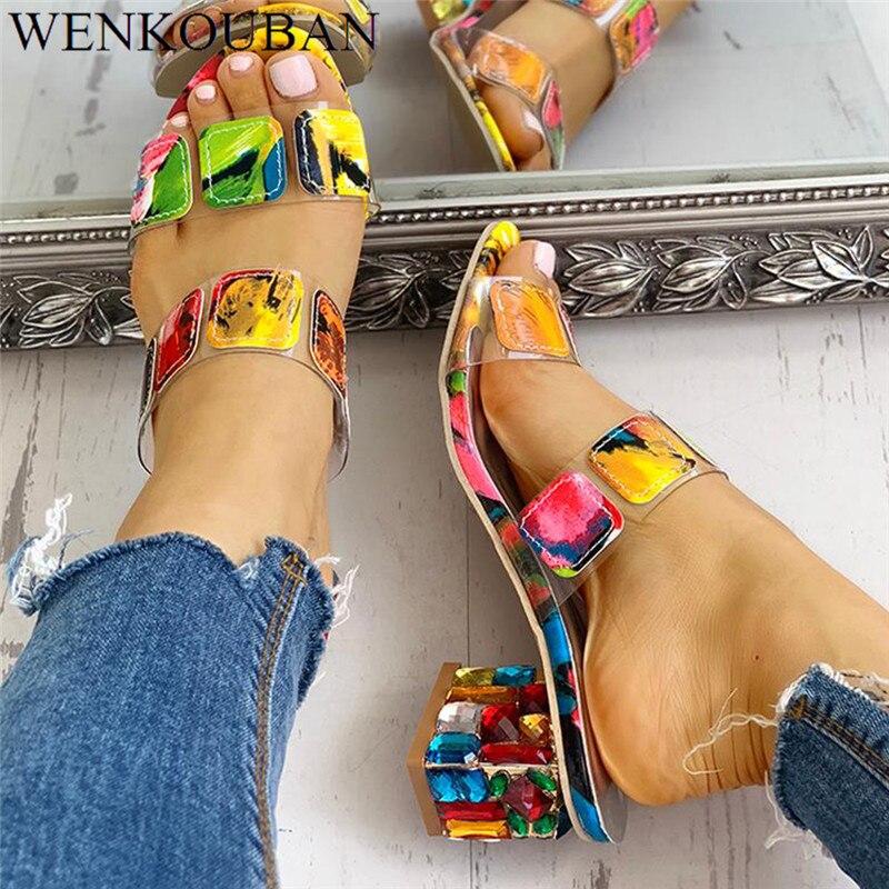 Woman Sandals 2020 Summer Multi Colors Sandals Ladies Square Heels Sandalia Feminina Fashion Beach Flip Flops Sandalias Mujer