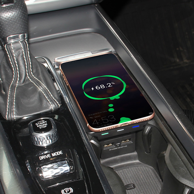 10W car QI wireless charging phone charger for Volvo XC90 XC60 S90 V90 V60 C60 2018 2019 charging plate for iPhone for Samsung