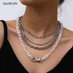 Salircon aço inoxidável de alta qualidade gargantilha colar multi camada link corrente punk chunky resina colar para mulheres jóias masculinas
