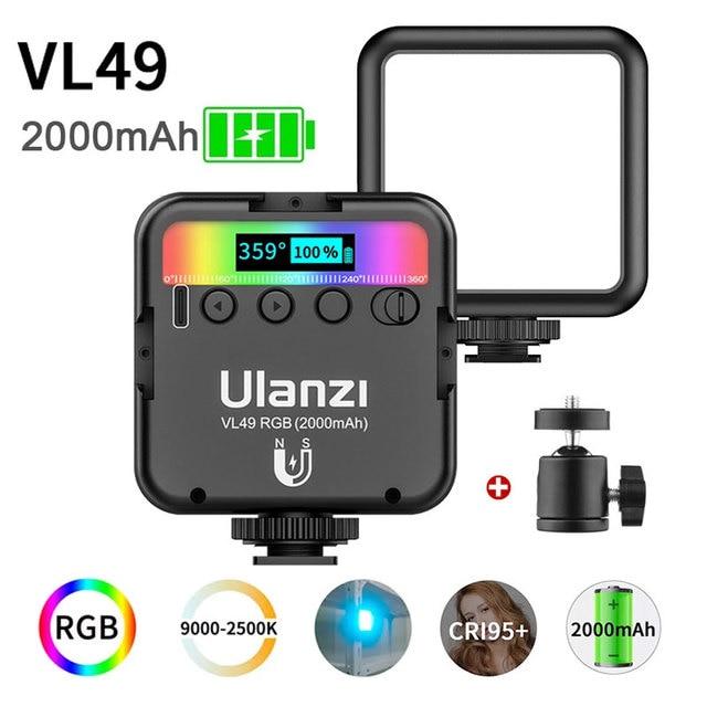 Orsda Ulanzi VL49 מיני וידאו אור תאורת עבור צילום 2000mAh 2500K 9000K RGB LED וידאו מצלמה אור Vlog למלא אורות לחיות