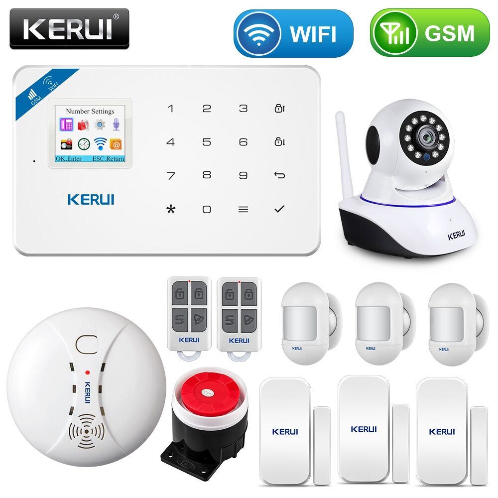 KERUI inalámbrico WIFI en casa de seguridad GSM Kit de sistema de alarma de Control APP con Dial Auto Detector de movimiento Sensor de sistema de alarma antirrobo Eufy Security, eufyCam 2C 2-Juego de cámara, sistema de seguridad inalámbrico para el hogar con batería de 180 días, compatibilidad HomeKit, 1080p HD