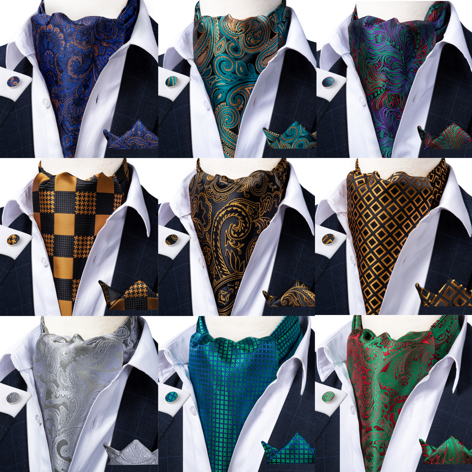 Mens Paisley Silk Floral Check Gold Teal Green Vintage Necktie Cravat Tie Wedding Formal Ascot Scarves Pocket Square Set DiBanGu
