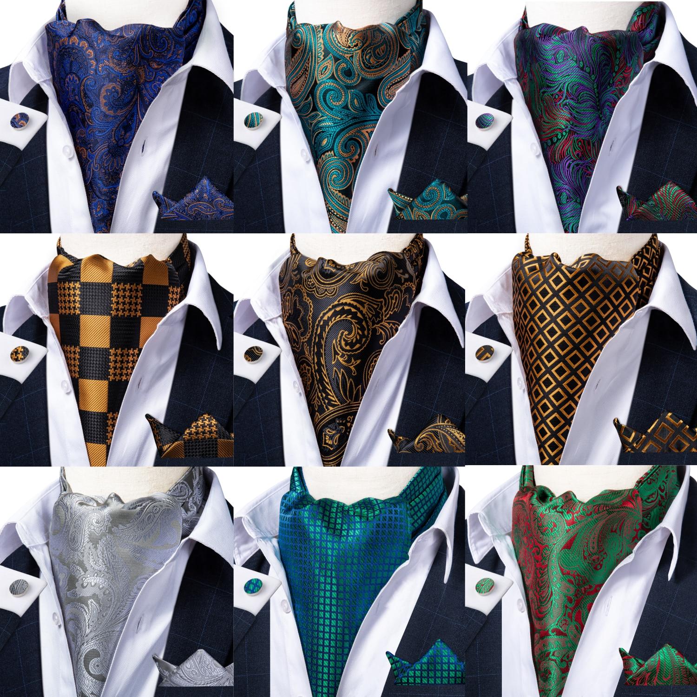 Mens Paisley Silk Floral Check Gold Teal Green Vintage Necktie Cravat Tie Wedding Formal Ascot Scarves Pocket Square Set DiBanGu