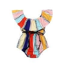 Полосатый комбинезон для новорожденных девочек; Новинка года; детский жилет без рукавов; Модный пляжный костюм; летняя одежда