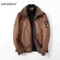 Schinteon Men Suede Leather Jacket Air Force Uniform Coat Faux Lamb Wool Fur Warm Winter Outwear High Quality Drop shipping